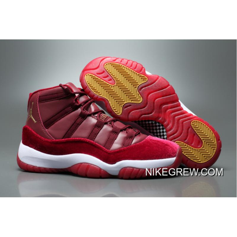 "6f7e45ff368 Women Air Jordan 11 GS Velvet ""Heiress"" Night Maroon/Metallic Gold-Night ..."