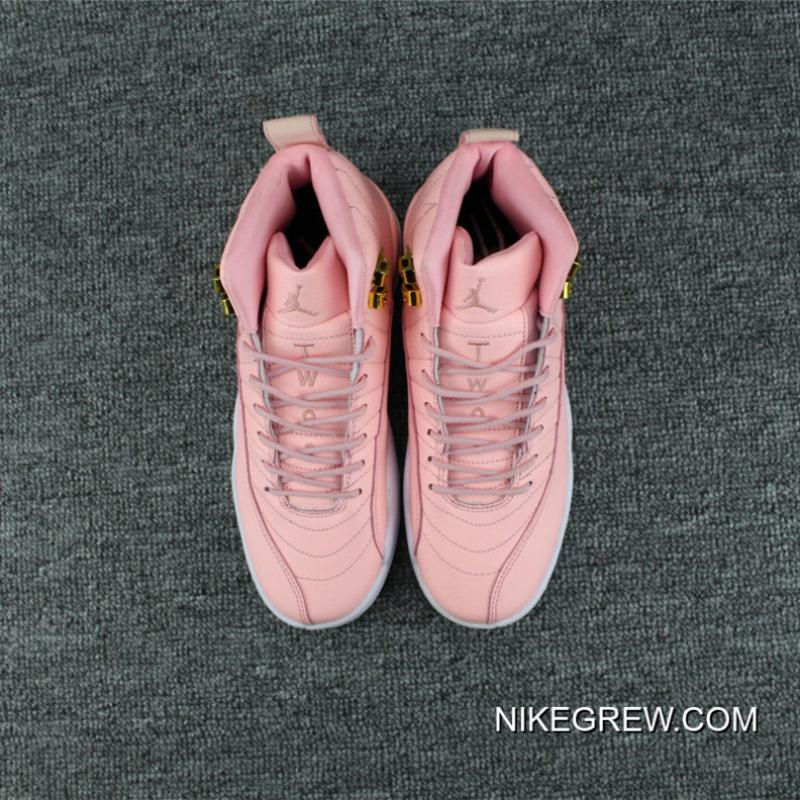 "beb65ad1255486 ... Women New Release Air Jordan 12 GS ""Pink Lemonade"" Pink White-Gold ..."