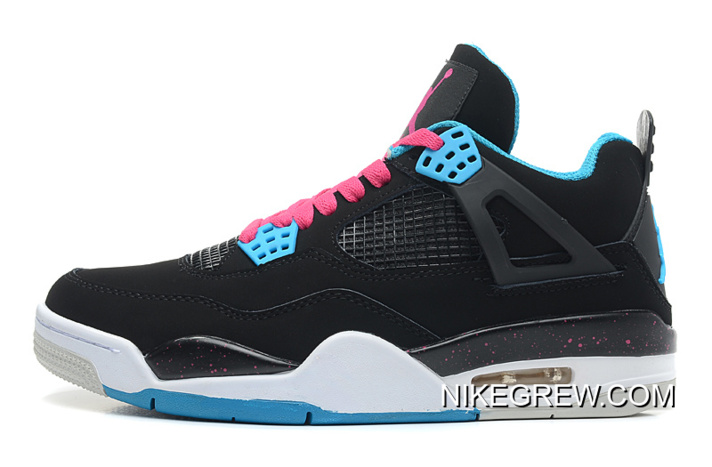 "buy popular 40c14 3807b Women Men New Air Jordan 4 Retro ""South Beach"" Black Dynamic Blue"
