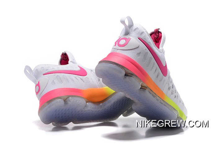 c56097a215ab Nike KD 9 White Pink Volt Yellow New Style